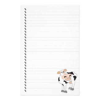 Papeterie rayée mignonne d'animal familier de vach papier à lettre customisé