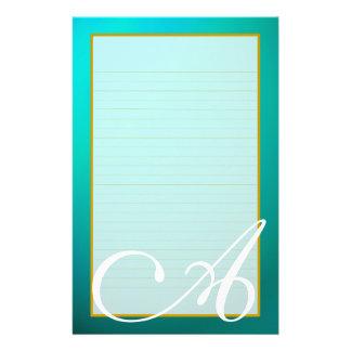 Papeterie rayée par amende bleu vert turquoise de