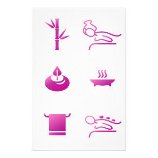 Papeterie Rose d'icônes de santé sur le blanc