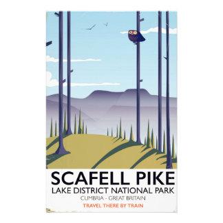 Papeterie Scafell Pike, Cumbria, affiche vintage de voyage