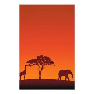Papeterie Silhouette africaine de safari - en-tête de lettre