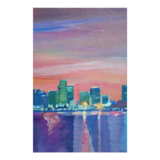Papeterie Silhouette d'horizon de Miami au coucher du soleil