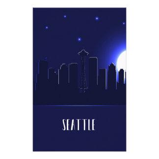 Papeterie Silhouette d'horizon de Seattle la nuit
