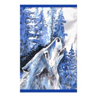 Papeterie Souffle bleu de froid de loups d'hiver de loup de