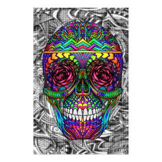 Papeterie Tête morte en spirale d'art abstrait de crâne de