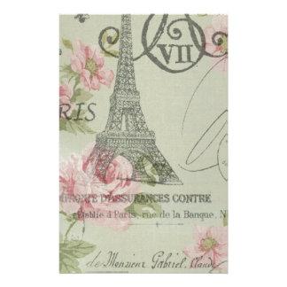 Papeterie Tour Eiffel botanique floral rose en bon état de