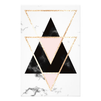 Papeterie Triangles, or, noir, rose, marbres, collage,