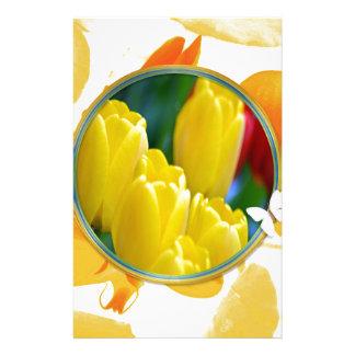 Papeterie Tulipes jaunes dans le cadre rond coloré