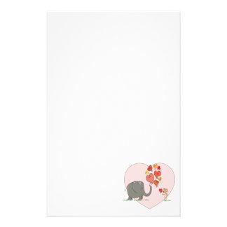 Papeterie vecteur mignon d'amour de valentine d'éléphant et