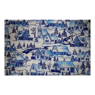 Papeterie Village bleu vintage de vacances de Noël