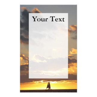 Papeterie Voilier au papier à lettres de coucher du soleil