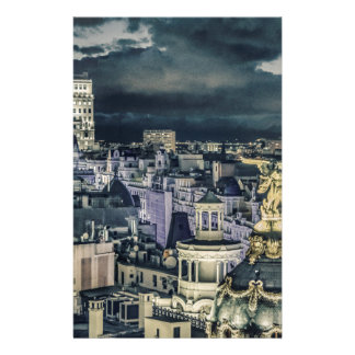 Papeterie Vue aérienne de scène de nuit de paysage urbain de
