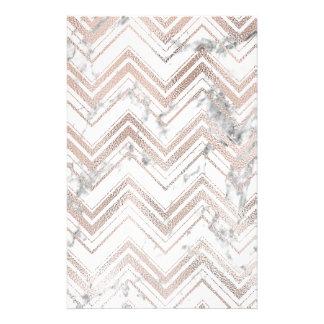 Papeterie Zigzag rose d'or et de marbre