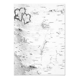 Papier blanc de coeurs rustiques d'écorce de carton d'invitation  12,7 cm x 17,78 cm
