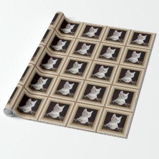 Papier blanc de modèle photo de chaton de partie papiers cadeaux