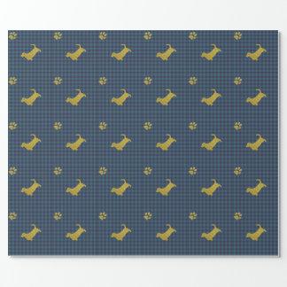 Papier bleu d'emballage cadeau de patte de chien papier cadeau