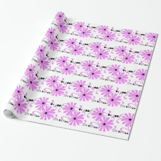 Papier Cadeau 13ème anniversaire, fleurs roses lumineuses,