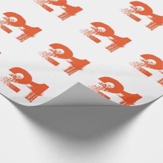 Papier Cadeau 21ème anniversaire pour n'importe qui, orange sur