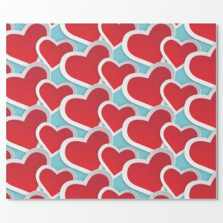 Papier Cadeau 2 gros coeurs rouges répétant le motif mignon