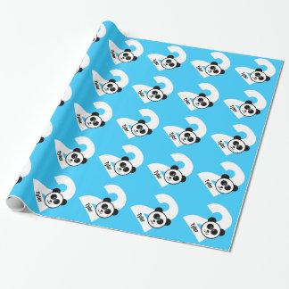 Papier Cadeau 2ème PANDA d'anniversaire nom fait sur commande 2