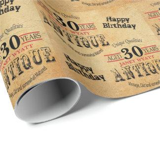 Papier Cadeau 30ème anniversaire grunge antique de