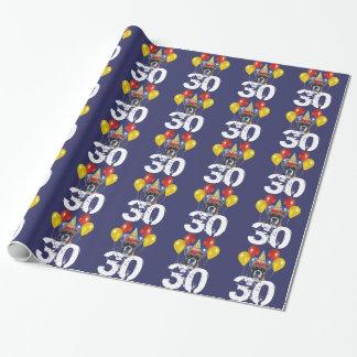 Papier Cadeau 30ème Papier bleu d'emballage cadeau de chien de