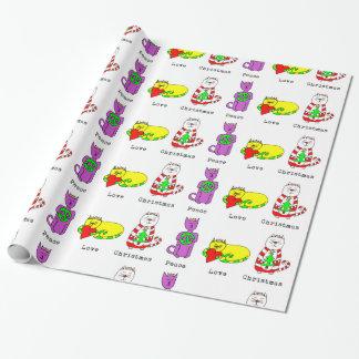 Papier Cadeau 3 chats sages - paix, amour, Noël - vacances
