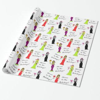 Papier Cadeau Acclamations aux vacances ! Femmes de vin