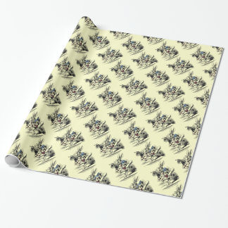 Papier Cadeau Alice vintage dans l'enveloppe blanche de lapin du