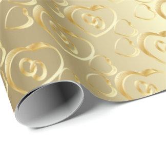 Papier Cadeau Alliances élégantes d'or