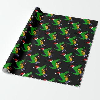Papier Cadeau Alligator mignon dans la bande dessinée de Noël de