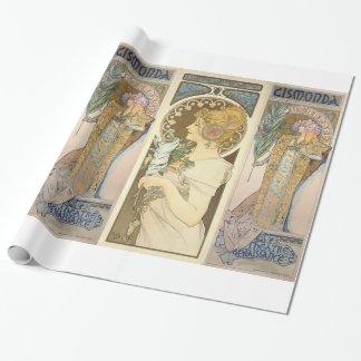 Papier Cadeau Alphonse Mucha - peinture de Sarah Bernhard