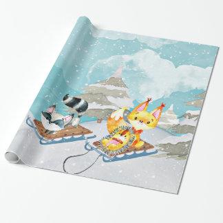 Papier Cadeau Amis de région boisée d'hiver - illustration de