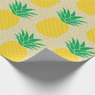 Papier Cadeau Ananas de parties scintillantes d'or