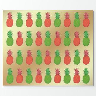 Papier Cadeau Ananas rouges et verts de Noël sur l'or