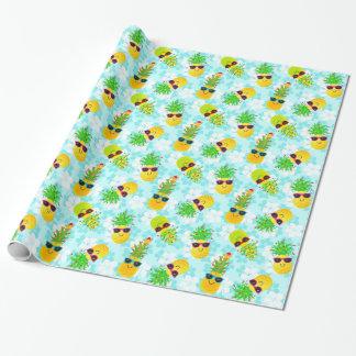Papier Cadeau Ananas tropicaux drôles de Noël