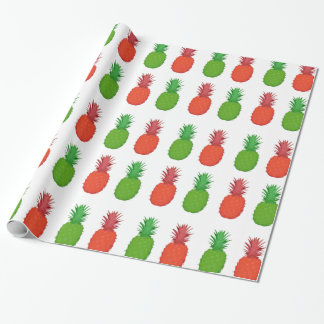 Papier Cadeau Ananas tropicaux rouges et verts de Noël