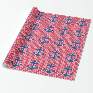 Papier Cadeau Ancre bleue nautique sur l'arrière - plan rouge de