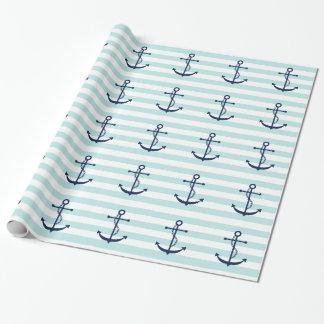 Papier Cadeau Ancre bleue sur les rayures en bon état