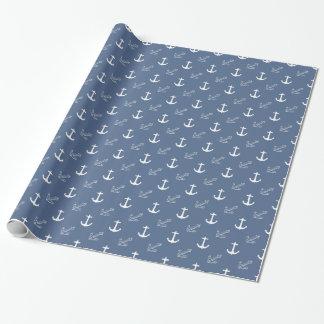 Papier Cadeau Ancres bleu-foncé