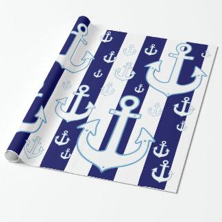 Papier Cadeau ancres et rayures blanches de bleu marine,