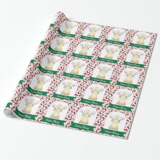 Papier Cadeau Ange de bénédictions de Noël sur le rouge avec les