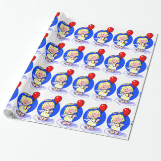 Papier Cadeau Ange mignon de Noël et ballon rouge