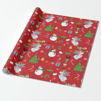 Papier Cadeau Anges de Noël et papier d'emballage de bonhomme de
