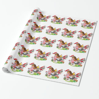 Papier Cadeau Animaux de ferme adorables de Noël dans des