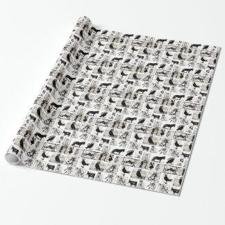 Papier Cadeau Animaux royaux noirs et blancs vintages