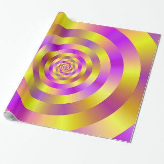 Papier Cadeau Anneaux en spirale jaunes et roses