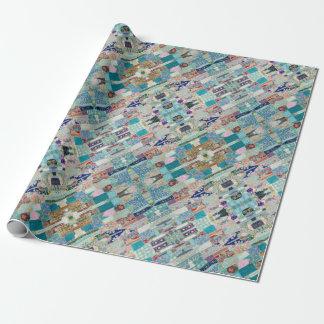Papier Cadeau Aqua et conception bleue de tapisserie d'édredon