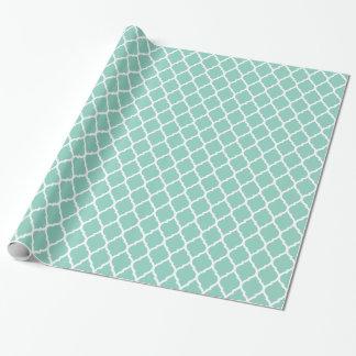 Papier Cadeau Aqua et Marocain blanc Quatrefoil
