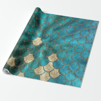 Papier Cadeau Aqua Mermaidscales vert avec le scintillement d'or
